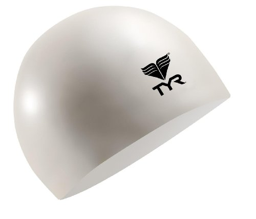 TYR Latex Swim Cap, White - White Swim Cap