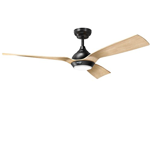 reiga 52-Inch Downrod Mount Ceiling Fan with Light & Remote,3 Oak Color Blade Suit for Indoor/Outdoor ()