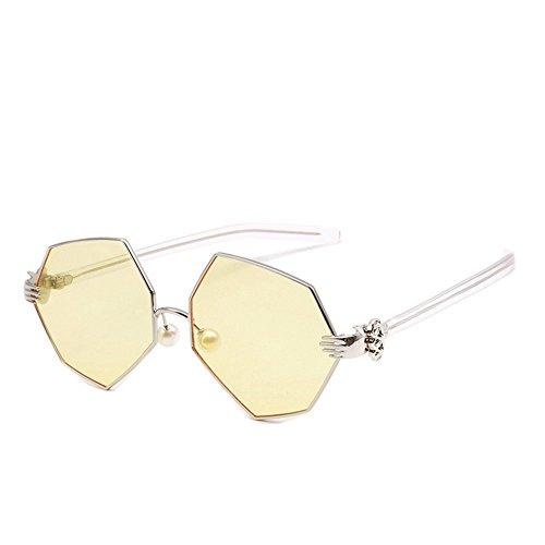 jaune en Métal De Irrégulières Lunettes Lunettes Perles pour De Artistique JUNHONGZHANG Paume De Soleil Polygone Soleil Femme Lunettes De Miroir pour nx0aRT