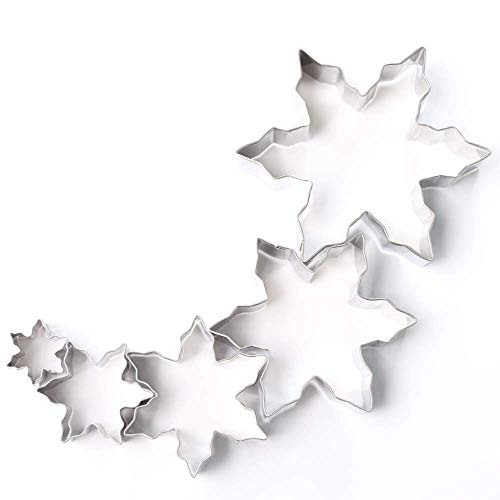 (Snowflake Cutter Set - Frozen Snowflake Shaped Stainless Steel Mold Cookie Cutter for Fondant and Cookies - 5 Different Sizes - Great for Christmas and Winter Holiday)