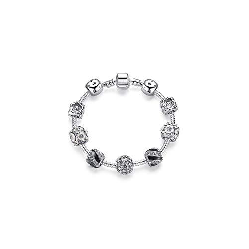 VBTY Beaded Stretch Bracelet, Stone Beads,925 Silver Crystal Charm Bracelet for Women Silver Snake Chain & Murano Glass Black Beads Bracelet Authentic Jewelry PS3820 17cm