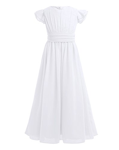 - YiZYiF Girls' Kids' Flutter Sleeves Ruffles Bridesmaid Prom Gown Party Long Flower Girl Dress White 14