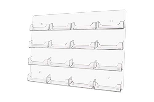 Marketing Holders Business Card Holder Wall Mount Rack 16 Pocket Gift Card Rack 4 Slots Across and 4 Down Durable Pre Drilled Premium Acrylic Display Rack