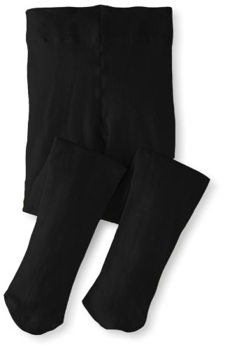 Jefferies Socks Little Girls'  Pima Cotton Tights, Black, 2-4 -