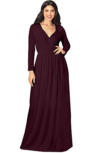 KOH KOH Plus Size Womens Long Sleeve Sleeves Empire Waist Floor-Length Cocktail Elegant Evening Fall Modest Winter Formal Abaya Cute Gown Gowns Maxi Dress Dresses, Maroon Wine Red XL 14-16