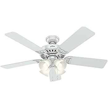 Hunter 53062 studio series 52 inch ceiling fan with five white hunter 53062 studio series 52 inch ceiling fan with five whitebleached oak blades aloadofball Images