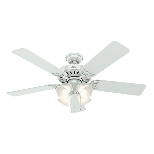 Hunter 53062 Studio Series 52-Inch Ceiling Fan with Five White/Bleached Oak Blades and Light Kit, White