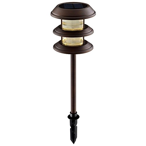 Outdoor Solar Powered Landscape LED Mediterranean Bronze Ribbed Plastic  Lens Path Light With 3 Tier (6 Pack). By Hampton Bay