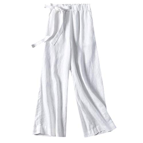 TIFENNY Cotton Linen Pants for Womens Elastic Waist Cropped Trousers Wide Leg Bottoms Sports Wear Sweatpants White