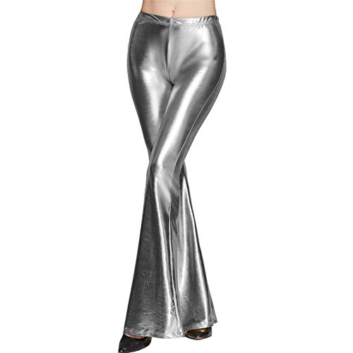 FYMNSI Women's Wetlook Wide Leg Flared Bootcut Palazzo Hippie Pants Metallic Bell Bottom Retro 70s Trousers Silver M for $<!--$19.08-->
