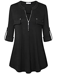Women's Zip Front V-Neck 3/4 Sleeve Tunic Casual Top