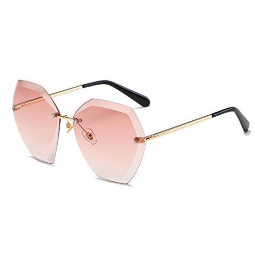 Frame Alloy Eyeglass (Suma-ma Mens Womens Retro Gradient Color Big Frame Sunglasses Eyeglasses, Hipster AviatoTravel Style (B))