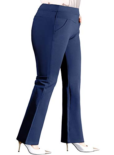 ABCWOO Women's Plus Size Pull-on Work Pants for Office Ladies Yoga Dress Trousers Navy Blue US Size 22W ()