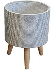 Cement Plant Potted Wood Frame Modern Round Decorative Flower Pot Indoor Wood Flower Pot Rack (plant Does Not Include) Home Decoration Gift (Color : Gray)