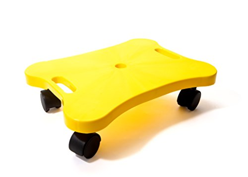 Plastic Scooter Board with Handles   16'' inch x 12'' inch  Perfect for Gym Class, Daycare, Preschool Development, Games  Educational Manual Scooter Board for Kid,Teen, Children and Adult - Yellow by Shot Taker Co.
