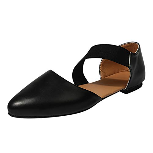(2019 New Women's Sandals with Arch Support Ladies Fashion Pointed Toe Flat Casual Sandals Single Shoes Black)
