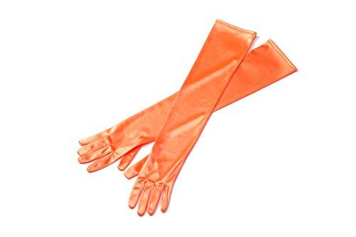 Tiffany Doll Costume (Orange Long Satin Elegant Vintage Opera Party Gloves- Autumn Orange)