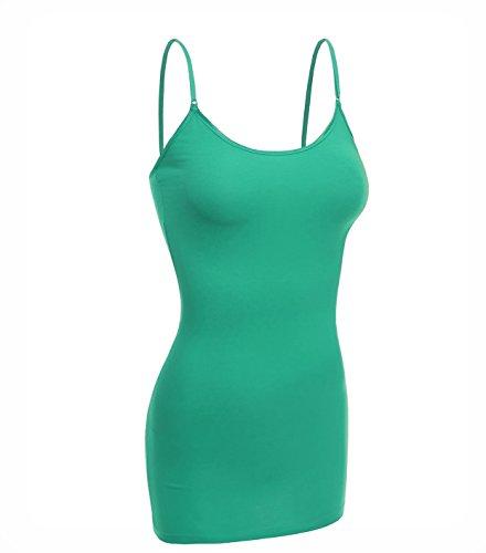 (Emmalise Women Basic Built in Bra Spaghetti Strap Cami Top Tank - Green, L)