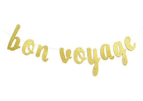 Firefairy Bon Voyage Gold Glitter Cursive Party Banner, Moving Away,Retirement Party Decorations Sign ()