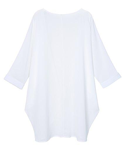 OLRAIN Women's Floral Print Sheer Chiffon Loose Kimono Cardigan Capes (XX-Large, White-2) ()