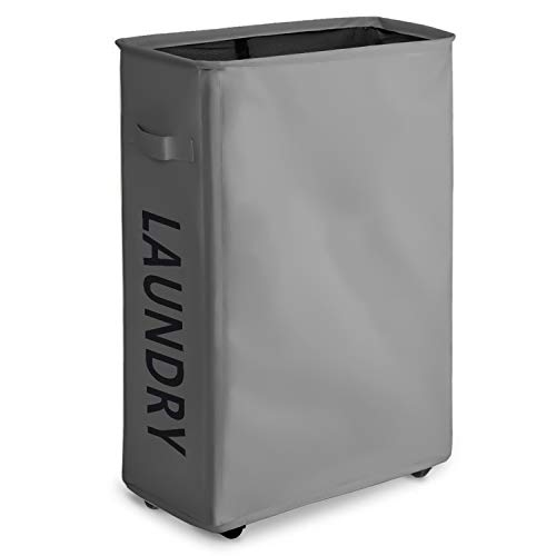 Infurnise 22'' Rolling Foldable Laundry Hamper Waterproof Drity Basket Organization Dust-Proof Sorter Home Coner Nursery 22''×15.4''×7.8''(Grey) by Infurnise