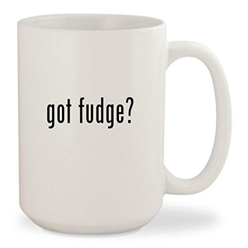 got fudge? - White 15oz Ceramic Coffee Mug Cup (Free Sugar Vanilla Fudge)