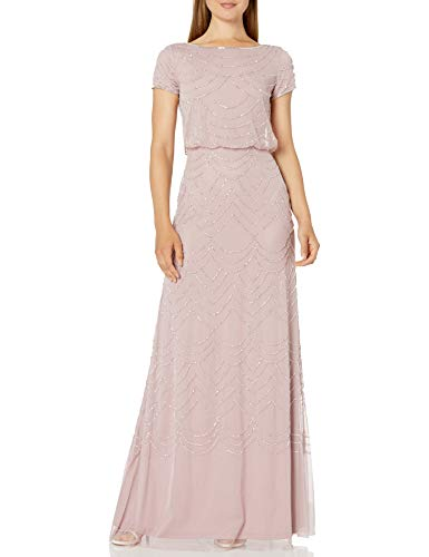 Adrianna Papell Women's Short Sleeve Beaded Blouson Gown, dusted Petal/Silver, 8