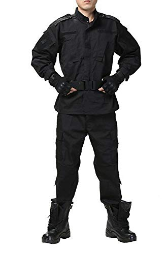 OSdream Military Tactical Hunting Combat Elbow and Knee Protective Pads BDU Uniform Suit (Black, XL)