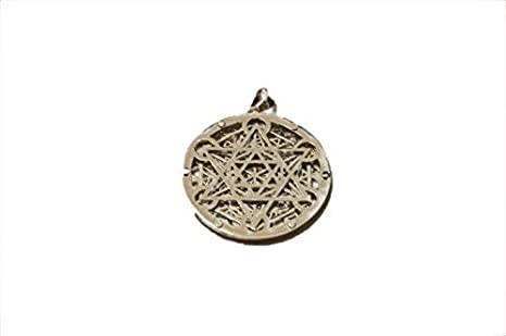 A+ Round Metal Pendant JI14 Copper Silver Gold Plated Triple Layer Egyptian Eye Flower of Life