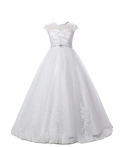 Magicdress White First Communion Baptism Dresses for Girls 7-16 Lace Princess Flower Girls Gown 10 -