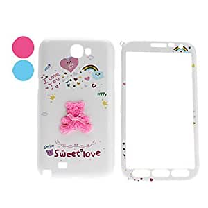 Back of Bear Pattern Front and Back Full Body Case for Samsung Galaxy Note 2 N7100 (Assorted Colors) --- COLOR:Pink