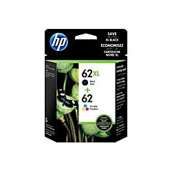 HP 62XL Black/62 Tri-Color Ink Cartridges, N9H67FN, 2/Pack