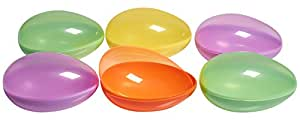 Prextex Jumbo, Plastic Easter Egg Containers in Assorted Colors- Set of 6