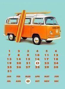 Metal Cartel/Calendario perpetuo Volkswagen VW combinado con tabla de surf