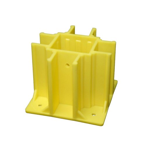 Safety Boot Yellow OSHA Compliant Guardrail Base with Toeboard Slots (Case of 24) by Safety Maker, Inc.