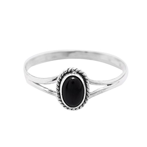 Onyx Vintage Ring (Black Onyx Oval Stone Delicate Vintage Ring 925 Sterling Silver Gipsy Boho Look US Size 5 6 7 8 9 10 (6))