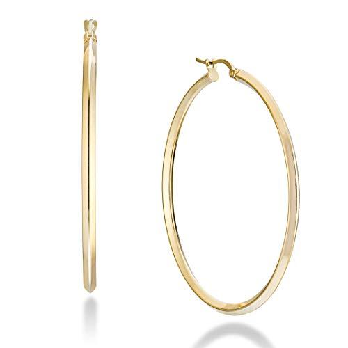 Miabella 18K Gold Over Sterling Silver Italian 2.5mm Polished Round Knife-Edge Hoop Earrings for Women 30mm, 40mm, 50mm - Earrings Italian Gold