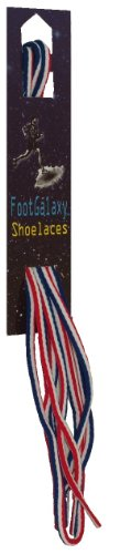 (FootGalaxy Oval Laces (Shoelaces) For Boots And Shoes, 40, Red-White-Blue-Stripe)
