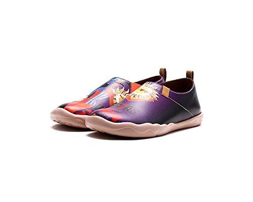 Femme Bateaux De Cuir Chaussures Le Violet Uin Néon Comfortable 1tz8x