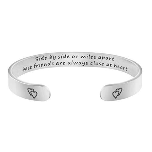 Joycuff BFF Bracelet Friendship Jewelry Best Friend Moving Away Gift Side by Side Or Miles Apart Best Friends are Forever Close at Heart (Best Friend Jewelry Bracelets)