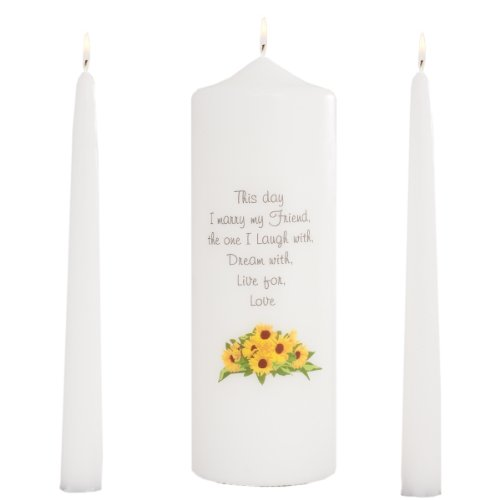 (Celebration Candles Wedding Unity 9-Inch This Day I Marry My Friend Pillar Candle with Sunflower Motif and 10-Inch Taper Candle Set, White)