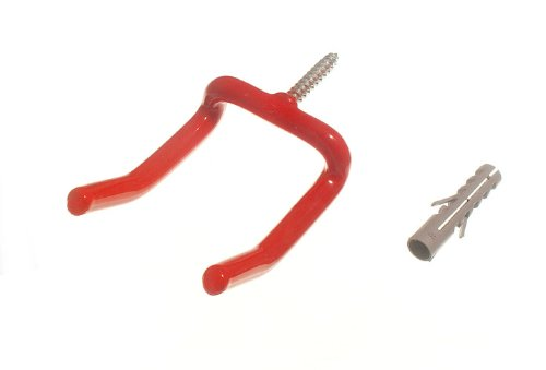 100 X Red Wall Hook Large Tool Storage Hook With Rawl Plugs by DIRECT HARDWARE