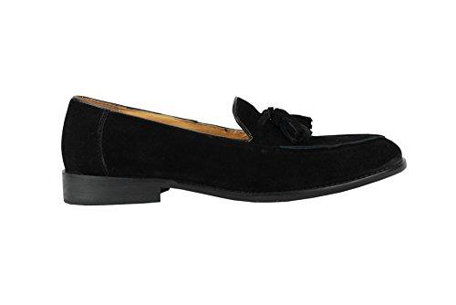 vera Mocassini scamosciata pelle Nappa Shoes Heel Xposed Slip on eleganti in Nero Uomo 0qxwFwfSIE