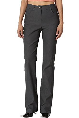 TheMogan Women's Straight Bootcut Stretch Woven Trouser Pants Work to Play Grey ()