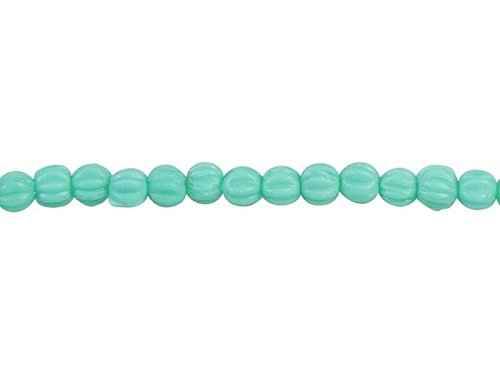 - Czech Glass 3mm Matte Turquoise Melon Bead Strand