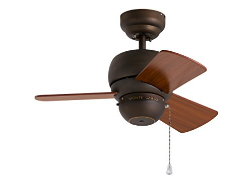Light Transitional One Twenty (Monte Carlo 3TF24RB, Micro 24 inch Ceiling Fan, Indoor/Outdoor, Roman Bronze)