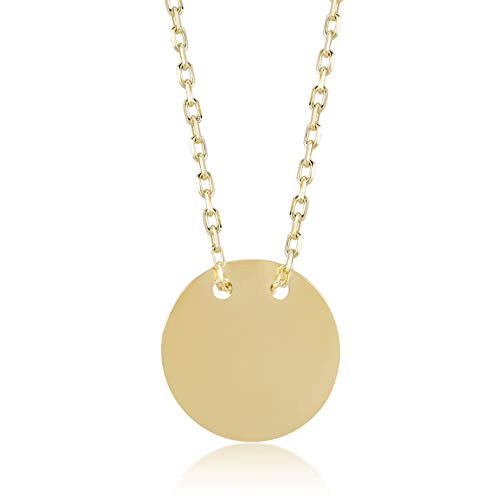 (Gelin 14k Solid Gold Simple Circle Disc Pendant Necklace for Women - A Perfect Surpise Gift for Her, 18 inch)