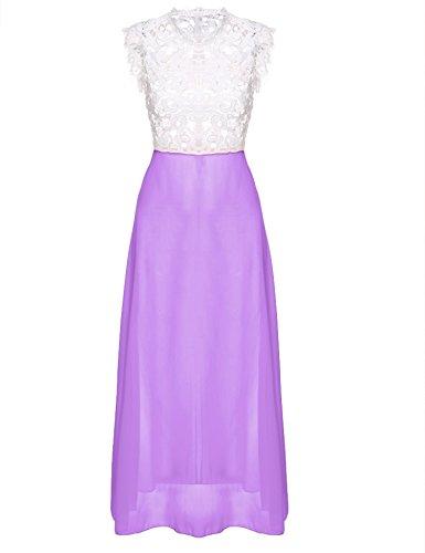 cooshional Vestido largo de fiesta atractivo de mujer vestido de gasa y encaje vestido de noche Morado