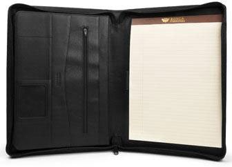 Bosca Zipper Portfolio In Black - Nappa Vitello by Bosca