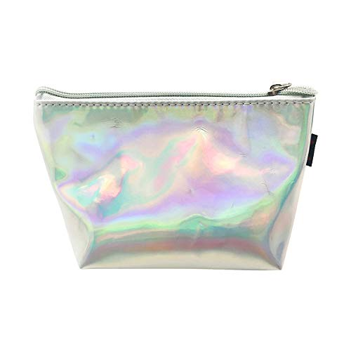 Jieyui Colorful Stationery PU Cosmetic Bag Organizer Portable Fashion Laser Cosmetic Bags Case with Zipper Bag Makeup Package High Capacity (Silver)